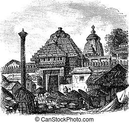 Jagannath temple in Puri Odisha India vintage engraving -...
