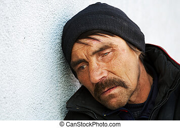 Homeless man in depression.