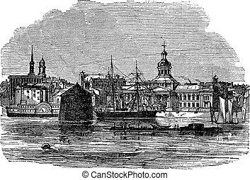 Waterfront at Kingston, Canada vintage engraving Old...
