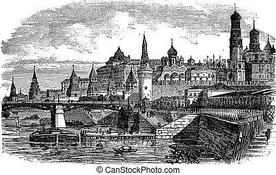The Moscow Kremlin and river,Russia vintage engraving. Old...