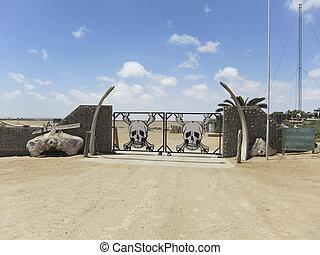 Skeleton park Namibia - Entrance gate of the Skeleton park...