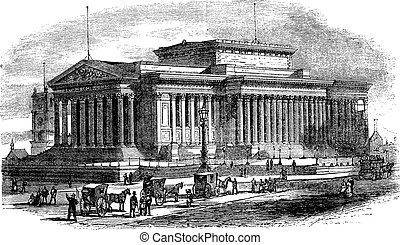 St George's Hall on Lime Street in Liverpool England vintage engraving