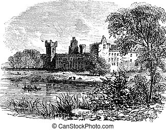 Ruins of Linlithgow Palace, West Lothian, Scotland, vintage...