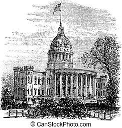 Wisconsin State Capitol in Madison US vintage engraving -...