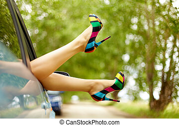 Lady inside - Photo of nice legs of elegant woman stuck from...