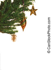 Christmas tree with decoration isolated over white