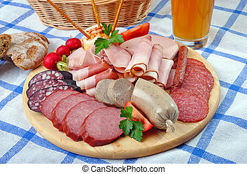 Bavarian Snack Plate - Bavarian mixed cold snack plate with...