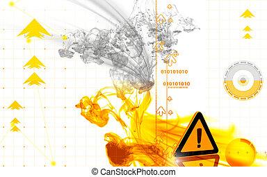 Warning sign - Digital illustration of Warning sign in...