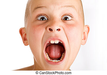 Screaming boy - a young boy yelling