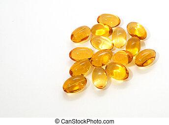 Oil vitamins yellow capsule