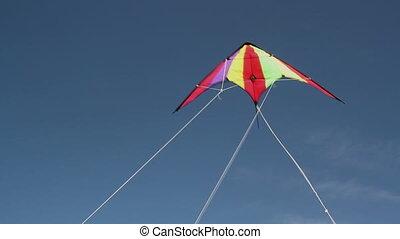 Kite soaring 2 - Motley kite flying in blue sky