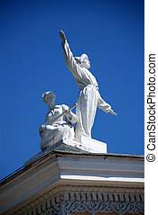 Statue on Roof at Bishkek - Statue on the roof of a public...