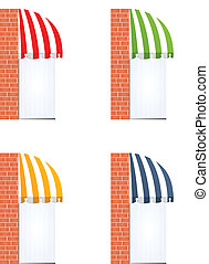 four different colored vector awnings