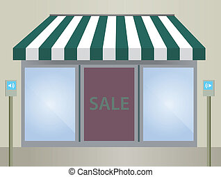 Storefront Awning in green stripe