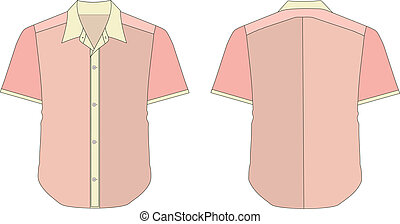 Collar Dress Shirt In Pink Red Color Tones