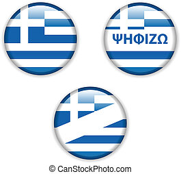 empty vote badge button for greece election - vector...