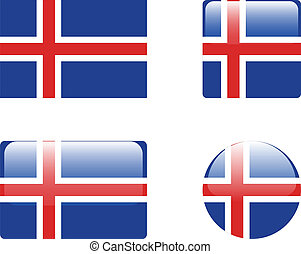Iceland flag & buttons