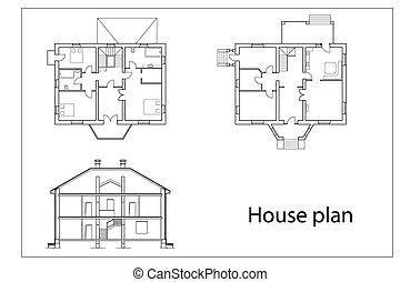 House Plans - vector House Plans black outlines on white...