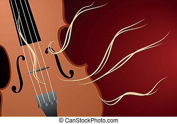 Vector illustration of violin on dark background