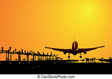 Airplanes - aircraft taking off at sunset (vector...