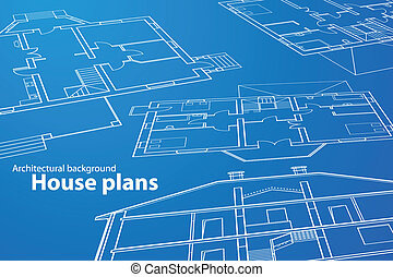 House Plans - vector House Plans. White outlines on blue...