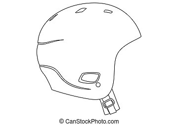 sports helmet - Black outline sports helmet on white...