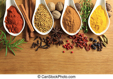 Spices and herbs - Various spices selection Food ingredients...