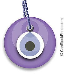 purple bead, worn to avert the evil eye
