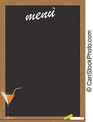 menu cocktail - menu on blackboard with frame