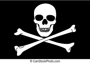 Jolly Roger on black background close up