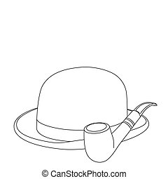 Hat outline - Vector black outline hat on white background