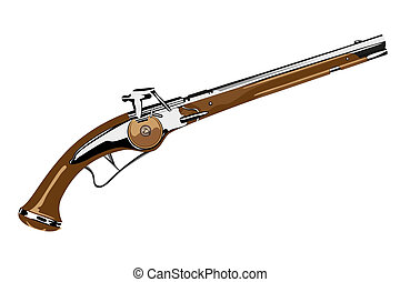 Blunderbuss - Vector pistol XVII century on white background