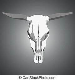 Cow skull - Vector cow skull on gray background...