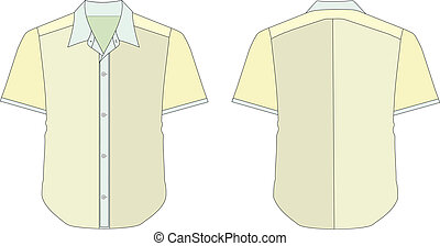 Collar Dress Shirt In Yellow Color Tones