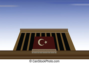 vector illustration of mausoleum of mustafa kemal ataturk,...