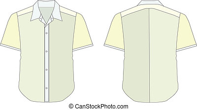 Collar Dress Shirt In Blue Yellow Color Tones - vector...