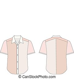Collar Dress Shirt In Red Color Tones