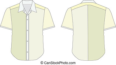 Collar Dress Shirt In Yellow Green Color Tones - vector...