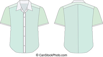 Collar Dress Shirt In Green Color Tones - vector...