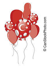 red balloons of turkish flag