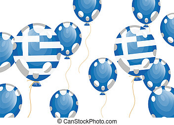 balloon of greek flag - vector illustration of blue balloon...