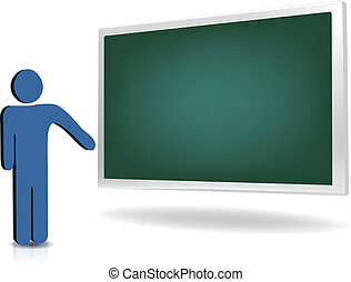 man pointing to an empty board