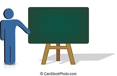 pointing to an empty chalkboard