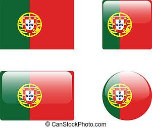 PORTUGAL, bandeira, &, Botões