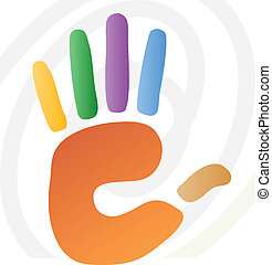 illustration of hand print - vector illustration of hand...