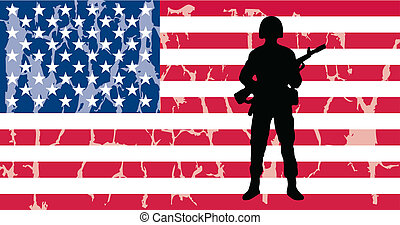 american flag with soldier and grunge effect