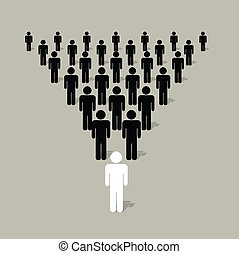 Leadership - Pyramidal structure with human silhouettes with...