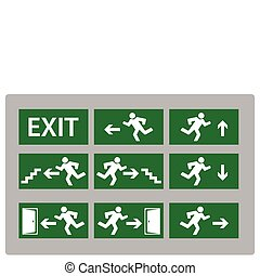 Exit sign - illustration of Exit Sign in various different...