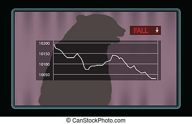 Stock chart with red fall indicator - Stock chart at the...