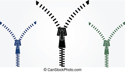 zipper on a white background for effect of opening or...